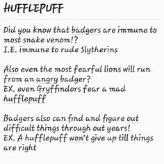 epiphany: badgers are also nocturnal ex. hufflepuffs don't care what time it is, they just stay up all night long