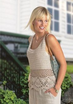 Crochet Top - Free Crochet Diagram - with just a plain DC bodice (I may try dc, DC ch 1 DC), chain mesh and then this cool openwork for the skirting. Débardeurs Au Crochet, Gilet Crochet, Mode Crochet, Crochet Diagram, Crochet Woman, Crochet Blouse, Crochet Crafts, Crochet Bikini, Irish Crochet