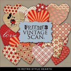 Far Far Hill: New Freebies Kit - 15 Retro Style Hearts