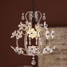 PB Teen Luce Chandelier, Clear at Pottery Barn Teen - Ceiling Light... ($139) ❤ liked on Polyvore featuring home, lighting, ceiling lights, white, flower stems, white chandelier, pbteen, white chandelier lighting and chain chandelier