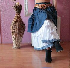 Купить Юбка бохо джинсовая Осень в городе - тёмно-синий, юбка длинная, юбка