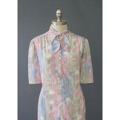 Ascot Dress - 70s Secretary Dress - Leaf Print Abstract Dress - Blue Grey Pink Leaf Dress - Short Sleeve Bow Collar Midi Dress - 1970s Dress