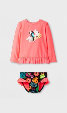 48f7e1dcdb2 Toddler Girls  Long Sleeve Tropical Birds Rash Guard Set - Cat   Jack™ Pink