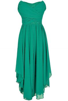 Dana Strapless Chiffon and Lace Midi Dress in Jade  www.lilyboutique.com