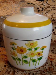 Vintage Yellow and White Hand Painted Canister-Shabby Chic