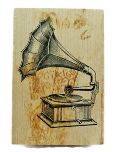 Antique Gramaphone Rubber Stamp by by PaperCreationsbyDeb on Etsy, $10.00