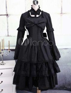 Black Cotton Gothic Lolita Dress - Milanoo.com
