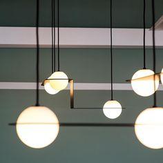 Custom Laurent project for office in Montreal Modern Lighting Design, Custom Lighting, Cool Lighting, Interior Lighting, Chandelier Lighting, Ceiling Light Design, Ceiling Lamp, Ceiling Lights, Brass Lamp