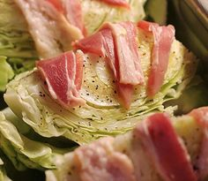 Baked Cabbage - Made in a roasting pan in the oven this is a delicious way to enjoy cabbage! Baked Cabbage Recipes, Cabbage And Bacon, Fried Cabbage, Cabbage Head, Napa Cabbage, Veggie Dishes, Food Dishes, Baked Vegetables, Veggies