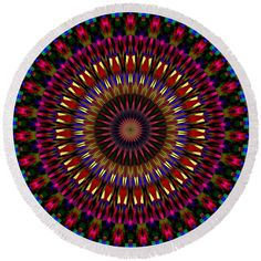 Mandala circle of ancestors Round Beach Towel by Lenka Rottova. The beach towel is in diameter and made from polyester fabric. Beach Towel Bag, Summer Essentials, Household Items, Towels, Mandala, Outdoor Blanket, Plush, House Design, Technology