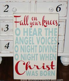 Fall on Your Knees Oh O Holy Night Christmas Typography Scripture Subway Art Wood Sign Christian                                                                                                                                                                                 More