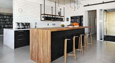 Subway tile Island with seating And the wood overlay Kitchen Reno, Kitchen Remodel, Kitchen Interior, Kitchen Design, Ikea Industrial, Hacks Ikea, Island With Seating, Interior Decorating, Interior Design