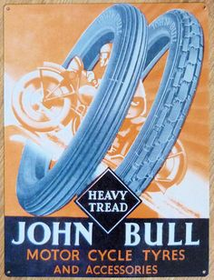 John Bull Motor Cycle /& Car Tyre Repair Old Vintage Garage Large Metal Tin Sign