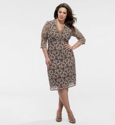 plus size lace dresses with sleeves | Plus Size Sleeved Scalloped Boudoir Lace Dress - Chocolate Lace ...