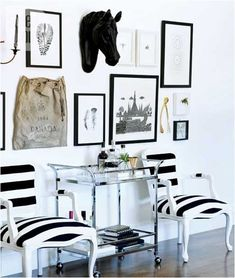 Erica Cook of Moth Design's gallery wall featuring our large gold wishbone as seen in style at home magazine via Marcus Design Home Interior, Interior Decorating, Decorating Ideas, Striped Chair, Black And White Interior, Equestrian Decor, White Houses, Black White Stripes, Home Fashion