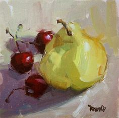 """Daily Paintworks - """"Argentinian Pear"""" - Original Fine Art for Sale - © Cathleen Rehfeld"""