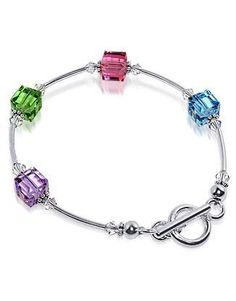 Sterling Silver Multicolor Square Crystal Bracelet 7.5 inch Made with Swarovski Elements Gem Avenue. $19.99. Gem Avenue sku # scbr034. We carry matching Necklace SKU # SCNK039 and Earrings SKU # SCER051, SCER052, SCER054, SCER056. Made with Swarovski Elements. Bracelet Comes with Secure toggle clasp. Length of this Bracelet is 7.5 inches