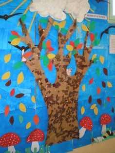 Nous avons confectionné une fresque d'automne. Stéphane a dessiné un arbre nu sur un grand carton qu'il a ensuite découpé. Les enfants ont peint l'arbre à l'éponge avec de la peinture brune dans différents tons. Puis nous avons déchiré pleins de papiers...