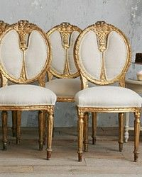 Vintage Gilt French Style Dining Chairs Shabby Roses