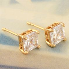 Wholesale Simple 18K Yellow Gold Plated Square CZ Women's Stud Earrings-in Stud Earrings from Jewelry on Aliexpress.com 0.90