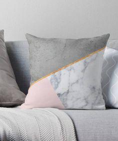 Blush and Marble Pillow Geometric Pillow Blush Pillows Minimalist Pillow Marble pillow Scandinavian decor Decorative pillow Cushions Blush Pillows, Grey Pillows, Cute Pillows, Floor Pillows, Pink And Grey Cushions, Throw Pillows, Room Ideas Bedroom, Bedroom Decor, Minimalist Pillows
