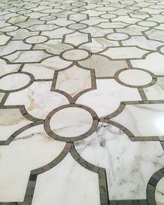 Luxury Marble Mosaic   Stone & Tile   Luxe Bathrooms   Global Custom Bathroom Design & Build Company   Waterjet Marrakesh Arabesque White Thassos & Carrara Grey
