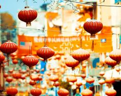 Chinese Lanterns in  San Francisco photography print- bright, blue and orange, neon, colorful wall decor