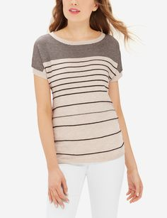 Short dolman sleeves gives this comfortable tee an easy slouch that's so very chic. Cardigan Sweaters For Women, Sweater Cardigan, Classy Women, Classy Lady, Stylish Outfits, My Style, Tees, Clean Slate, T Shirts