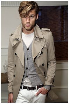 Shop this look for $183:  http://lookastic.com/men/looks/belt-and-jeans-and-cardigan-and-trenchcoat-and-crew-neck-t-shirt/708  — Dark Brown Leather Belt  — White Jeans  — Grey Cardigan  — Beige Trenchcoat  — White Crew-neck T-shirt