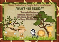 Jungle Safari Zoo  Birthday Invitation-Digtial File on Etsy, $12.00