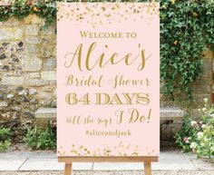 PRINTABLE Countdown Bridal Shower Welcome Sign Days Till She