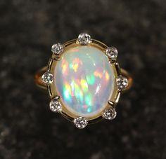 Natural Orange Opal 14k Gold Ring w/ Diamond Accents - Size 8 Custom Jewelry…