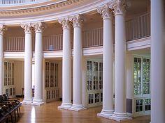 UVA Rotunda library stacks by Light Orchard, via Flickr.  Jefferson's design tucked library shelves behind columns.
