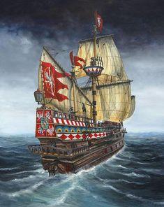 Galeón polaco Wodnik, botado sobre 1623, de 200 t y armado con 17 cañones. Se distinguió en la batalla de Oliwa en 1627, donde abordó al galeón sueco Solen, que terminó estallando perdiéndose toda su tripulación y causando 33 muertos entre los polacos. Cortesía de Lukasz Kasperczyk. Más en  www.elgrancapitan.org/foro