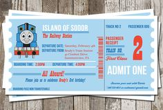 Thomas The Train Birthday Invitation. This would be cute to tear off the number and use for a raffle for a prize!