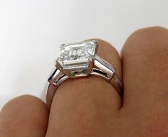 HUGE 5.33ctw Estate Vintage Emerald Cut Diamond by TreasurlybyDima