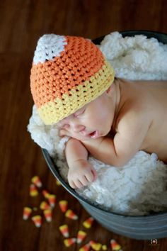 Crochet Pattern for Halloween Candy Corn Hat - 5 sizes, baby to adult - Welcome to sell finished items. $4.95, via Etsy.