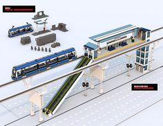 movie monorail platform - New Ideas Lego Train Station, Lego City Train, Lego Trains, Lego Modular, Lego Design, Lego Ship, Lego Room, Cool Lego Creations, Lego Worlds