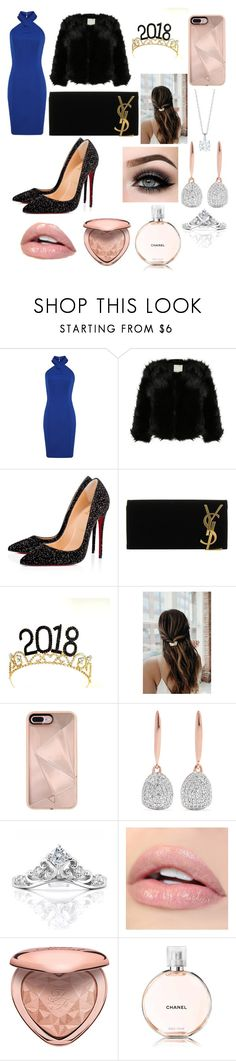 """""""new years party look"""" by arianasortiz ❤ liked on Polyvore featuring Christian Louboutin, Yves Saint Laurent, Rebecca Minkoff, Monica Vinader, ASAP, Too Faced Cosmetics and Chanel"""