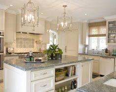 Manchester Tan Kitchen Cabinet Design Ideas, Pictures, Remodel and Decor - Modern Tan Kitchen Cabinets, Kitchen Island With Drawers, Kitchen Cabinet Colors, Granite Kitchen, Kitchen Colors, Kitchen Countertops, White Cabinets, Granite Tile, Island Kitchen