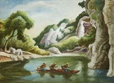 thomas hart benton missouri river | THOMAS HART BENTON Buffalo River (Canoe with Three Men), 1973