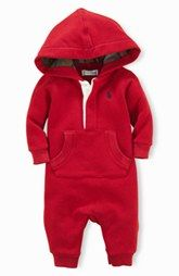 Ralph Lauren Hooded Romper (Baby Boys)