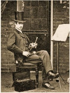 Young English Gent practicing the Trumpet - Cabinet Portrait taken in the 1870s