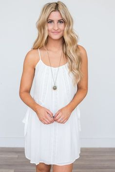 e5f1032142 Shop our Lace Detail Tunic Dress in Off White. Free shipping on US orders!