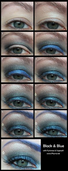 Black & Blue tutorial. click through to read! With Fyrinnae & Sugarpill