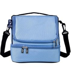 Wildkin double-decker's lunch bags offer more compartments and microwave bag. Placid blue. Starting at $19.99