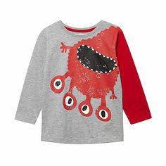 This grey boy's t-shirt from bluezoo has a red scary monster design with contrast sleeves and a crew neck. Vintage Baby Clothes, Kids Fashion Boy, Kid Styles, T Shirt Diy, Boys T Shirts, Trends, Baby Wearing, Kids Wear, Boy Outfits
