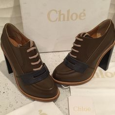 New Chloé booties 100% Authentic Brand new in a box with dust bags and the card Chloe booties. The quality is amazing. And the thick heel makes them super comfortable. Fit true to size Chloe Shoes Ankle Boots & Booties