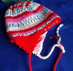 Red Toddlers Hat with Earflap in Self Pattern Yarn by prudysknits2, $12.00