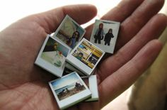 Polaroid style picture magnets. (mini pics mounted to chipboard then magnets)